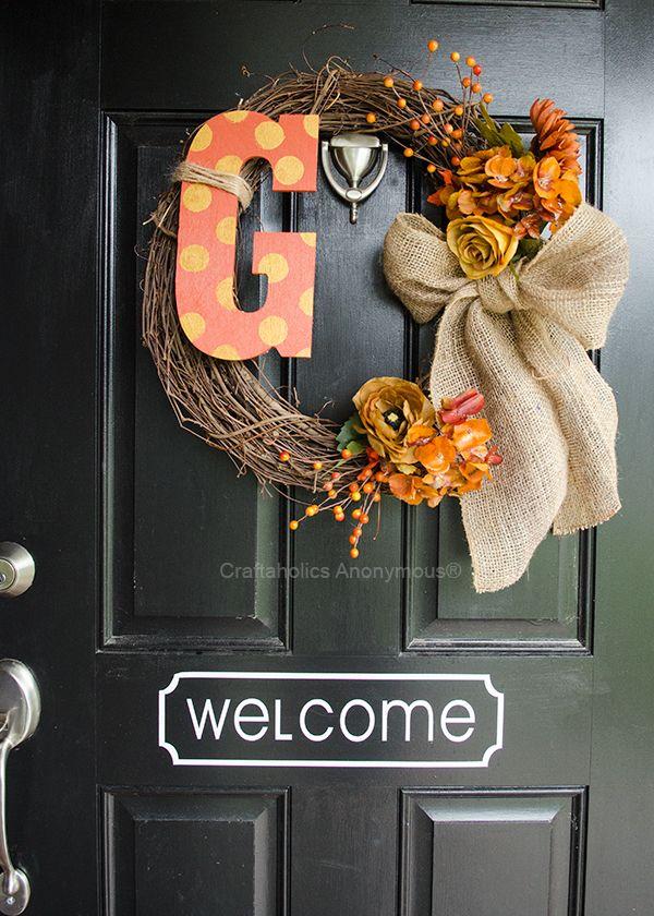 Fall Wreath with polka dot monogram. Easy easy easy wreath! http://www.craftaholicsanonymous.net/monogram-fall-wreath