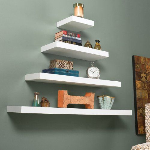 "Southern Enterprises Chicago Floating Shelf 10"" White"
