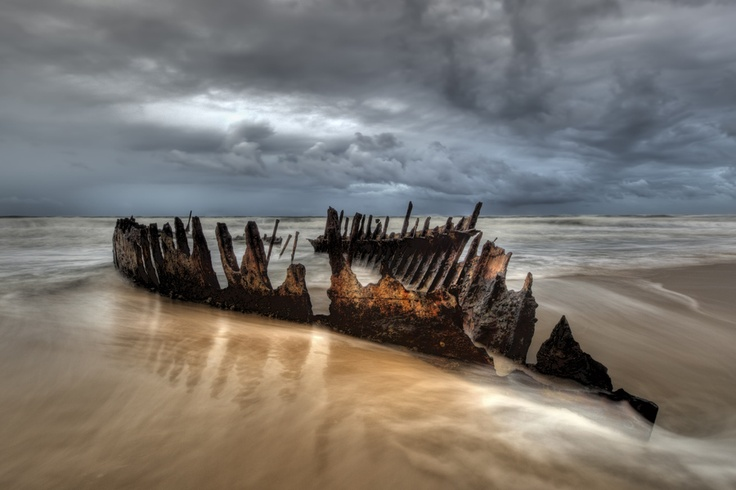 The SS Dicky, which ran aground on 4 February 1893 at what is now called Dicky Beach, Caloundra, Queensland, Australia.