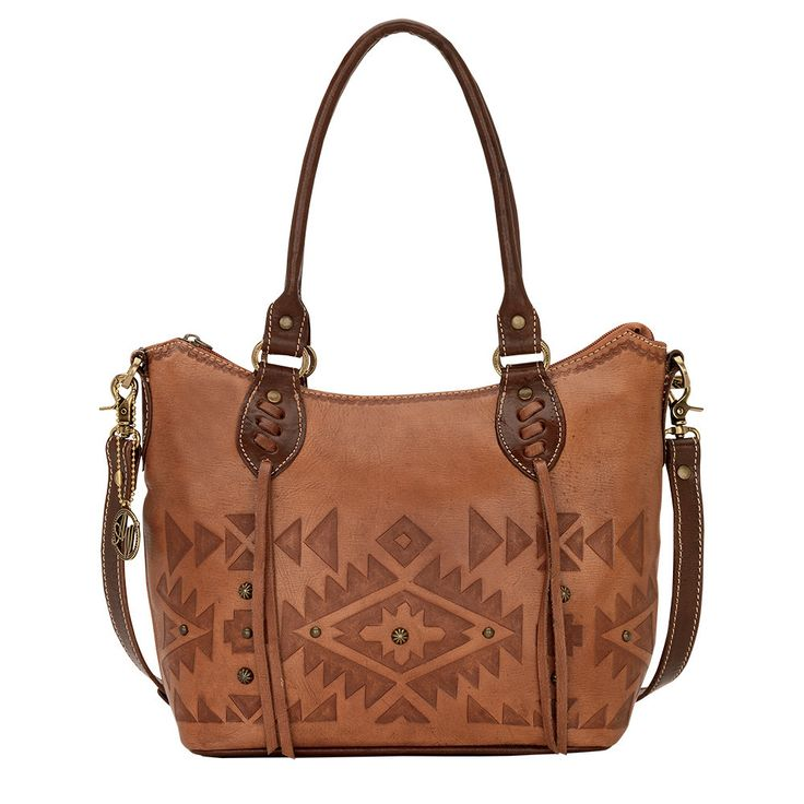 American West Golden Tan Mystic Shadow Convertible Zip Top Bucket Tote - HeadWest Outfitters