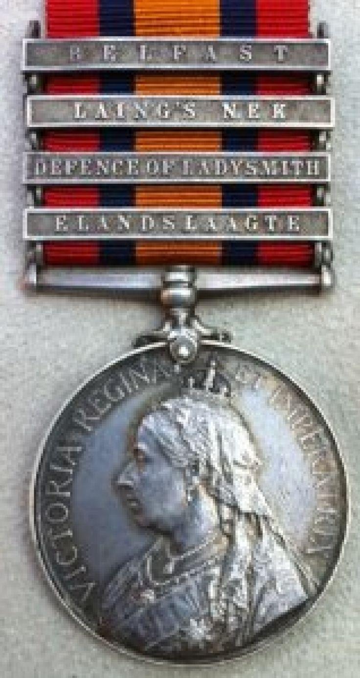 Queen's South Africa Medal, with 4 clasps - ELANDSLAAGTE, DEFENCE of LADYSMITH, LAINGS NEK, BELFAST