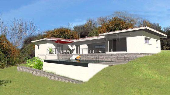 Maison contemporaine en c sur terrain en pente atelier sc nario maisons ext rieur - Piscine pente terrain nice ...