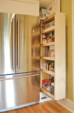 Exceptional Sliver Of Wall Next To The Fridge Was Maximized With A Pull Out Pantry That