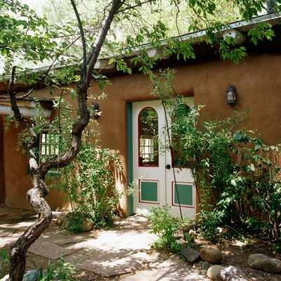 Doors to colonial style house in Santa Fe