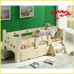 Camas para niños modernos en Línea-2017 la cama de niños de madera maciza moderna más nueva de la manera amplía alarga la cama de madera del pino del bebé con el cajón del almacenaje del cajón del almacenaje de la cerca de la escalera
