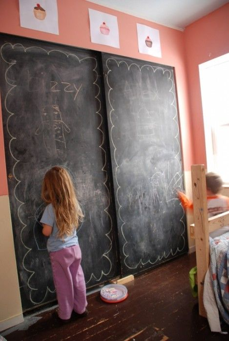 Chalkboard paint on closet or sliding doors..I LOVE this. I hate sliding doors but I'd keep them for this idea: Ideas, Plays Rooms, Chalkboards Paintings, Chalkboard Paint, Chalk Boards, Sliding Closet Doors, Playrooms, Chalkboards Wall, Kids Rooms
