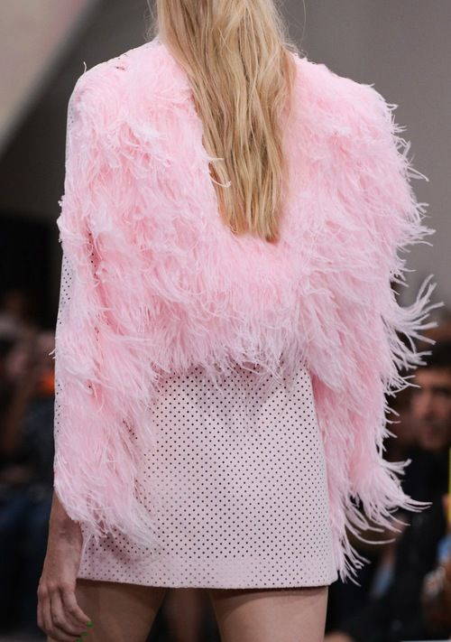 Fyodor Golan SS15 feathery perf pinks- taking the feathers from a/w into summer.