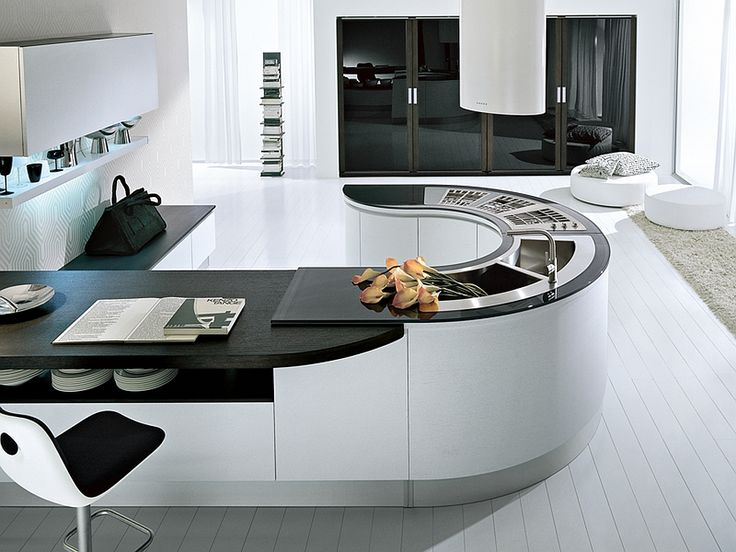 Curved kitchen island idea Trendy Contemporary Kitchen