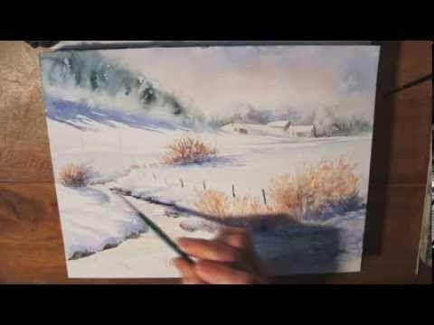Réalisation d'une aquarelle d'un paysage enneigé ,en relevant les tons froids et les tons chauds. Temps réel : 45 minutes environ.