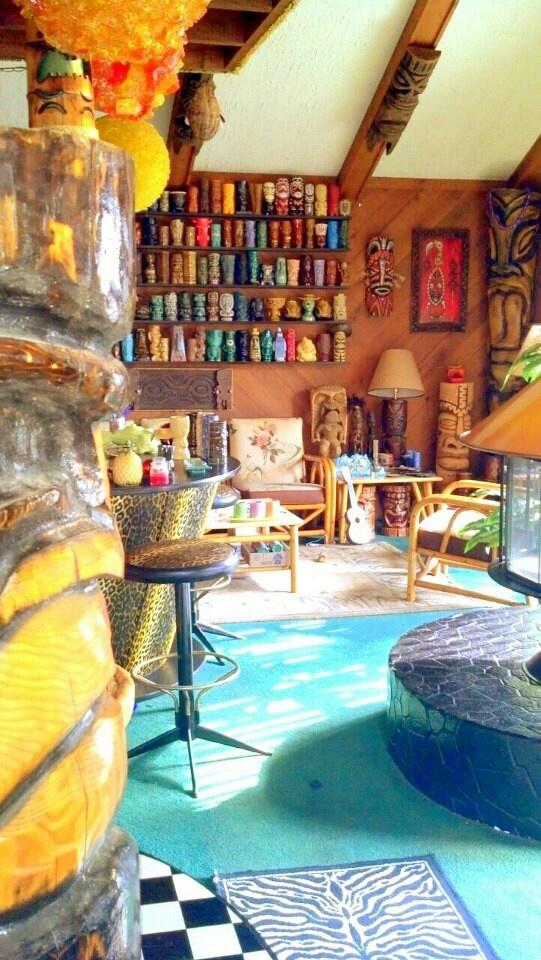 LOVE this Super Cool Tiki Décor and Tiki Mugs!!!  Vintage Tiki, Tiki Bar, Rare Tiki, Tiki Room!
