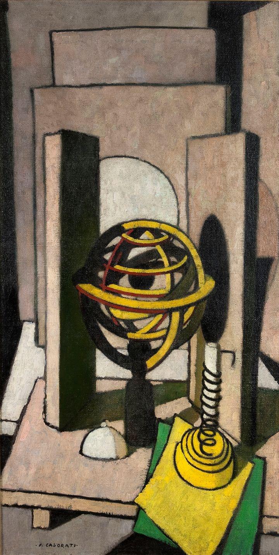 "CASORATI FELICE  ""Eclissi di luna o paralleli"" 1949  Olio su tela 100,5 x 50,5"