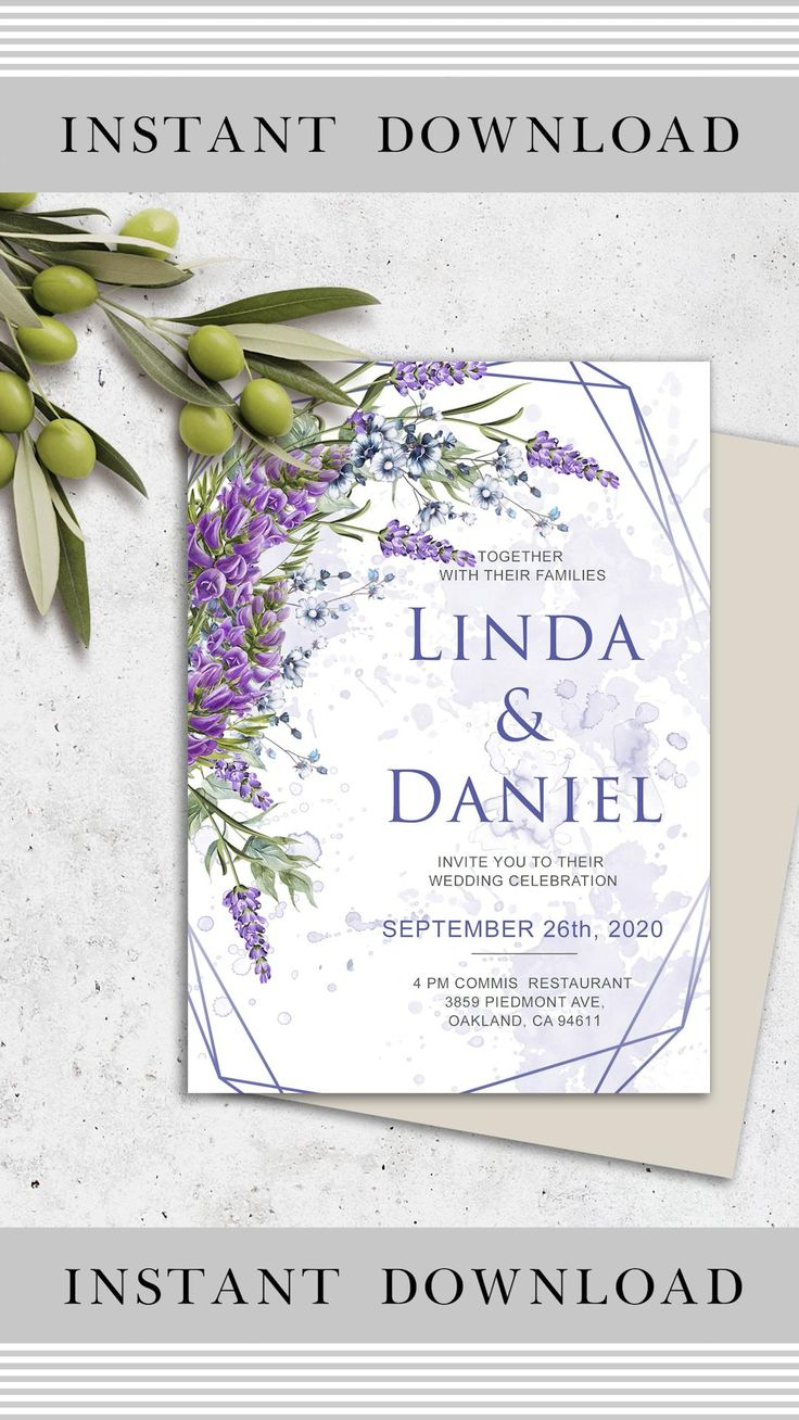 Floral Wedding Invitation Template Geometric Wedding