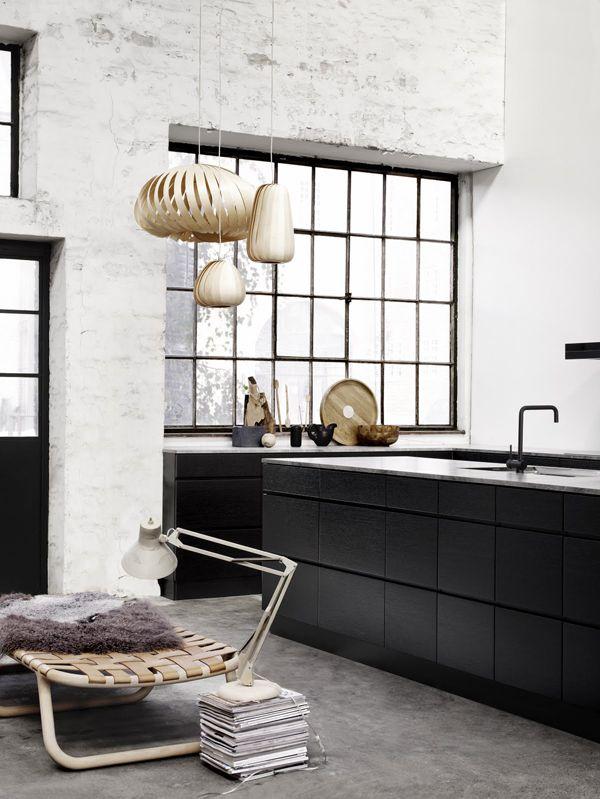 Windows + Lounger: Brick Wall, Industrial Kitchens, Black Cabinets, Interiors Design, Black White, Black Kitchens, Steel Window, Concrete Floors, White Brick
