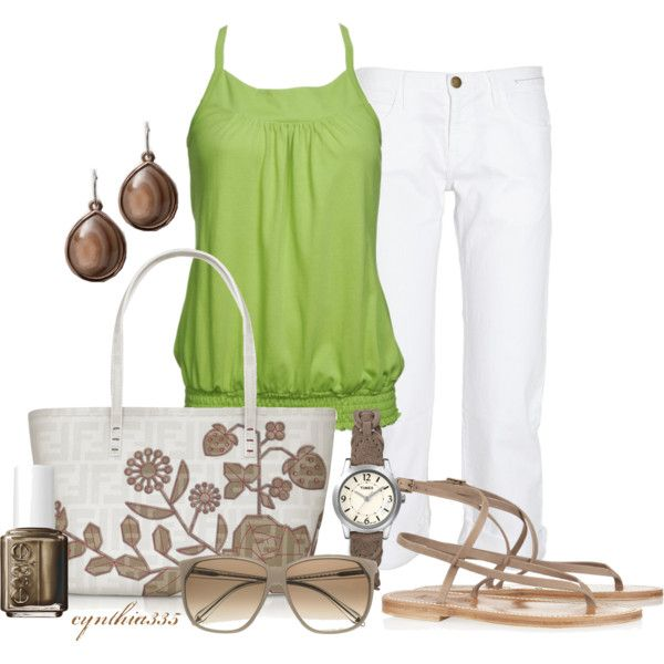 Summer Outfit. Lime is so bright and pretty, and it looks really classy with white and a touch of tan.