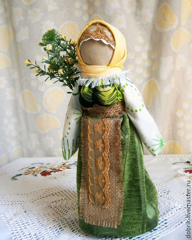 Купить Народная кукла оберег Травница - зеленый, кукла оберег, кукла, народная кукла