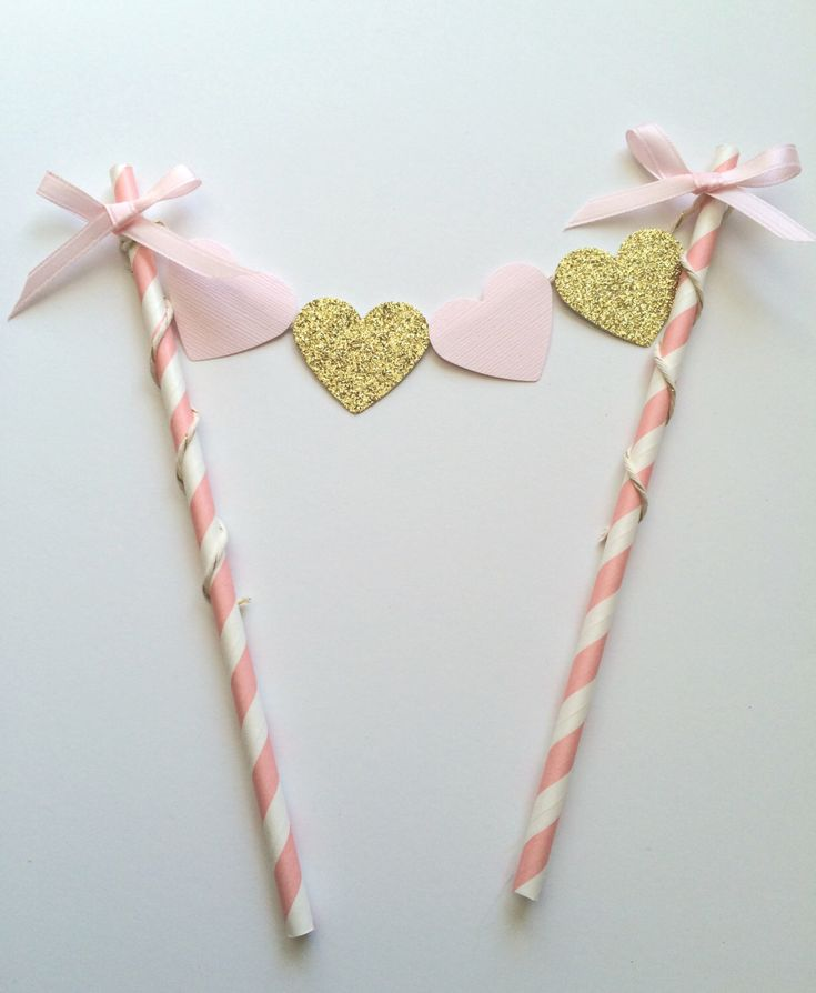 Pink and Gold Glitter Cake Bunting Banner Topper.  Hearts, Smash Cake, Cake Decor, First birthday Cake Decor by PaperTrailbyLauraB on Etsy https://www.etsy.com/listing/203495384/pink-and-gold-glitter-cake-bunting