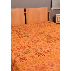 Indian Cotton Bedspread Bed Sheet Adorn with Floral Silk Thread Embroidery Work Size 88 X 106 Inches --- http://www.pinterest.com.welik.es/2.