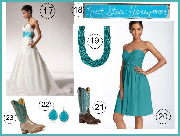 Turquoise Wedding Color Theme - Rustic Wedding Chic-check out the cowboy boots! :)