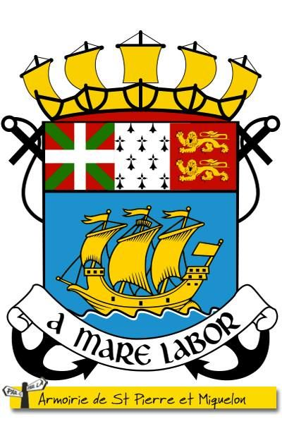 St PIERRE ET MIQUELON EST BRETON... OU NORMAND... OU BASQUE... OU LES 3 !  Au XVIème siècle, l'archipel de St-Pierre-et-Miquelon servait de point de relais aux pêcheurs de baleines basques, bretons et normands. Petit à petit, ces pecheurs se sont installés. Les armoiries de Saint-Pierre-et-Miquelon rendent hommage à ces ancêtres français : on y retrouve l'ikurriña (drapeau basque), les hermines de Bretagne et les léopards de Normandie.