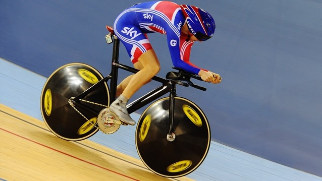 Jess Varnish of Great Britain rides in the women's Sprint