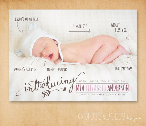 Baby Birth Announcement: Handwritten stats // by TheMombot on Etsy