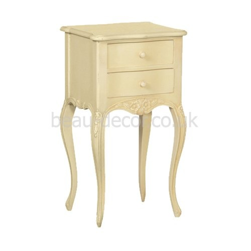 French Cream 2 Drawer Bedside Table