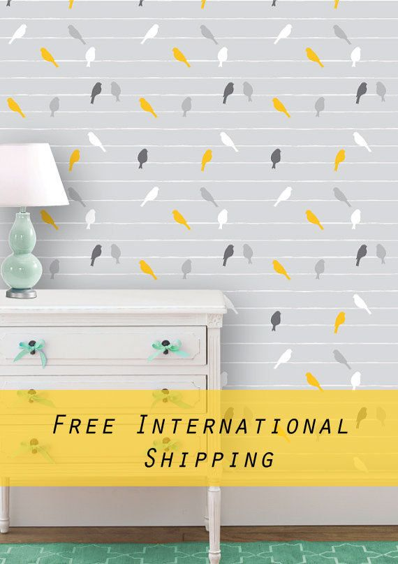 Bird Wallpaper, Bird wall art, Removable wallpaper, Reusable wallpaper, Peel&Stick, Re-positionable wallpaper, Self adhesive wallpaper