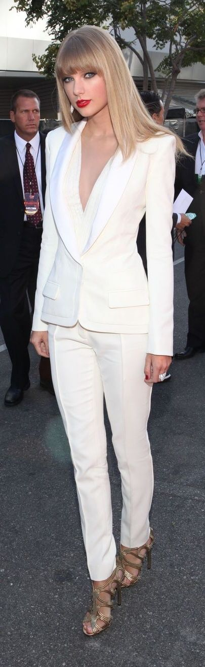 Taylor Swift evening look | All white deep cleavage white suit