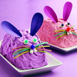 Easter Bunny Cake  (use 2 round pans & cut rounds in half)