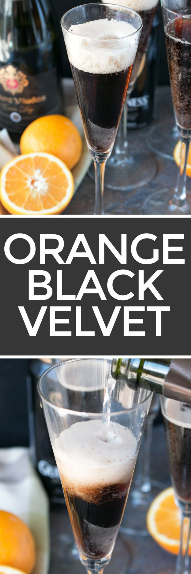 The classic Guinness cocktail gets a citrus twist! With a touch of orange bitters, the Orange Black Velvet is the only cocktail you should be sipping on for St. Patrick's Day! Orange Black Velvet http://www.cakenknife.com/orange-black-velvet/ | cakenknife.com #stpatricksday