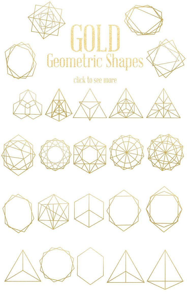 Gold Geometric Shapes Geometric Shapes Art Geometric Shapes