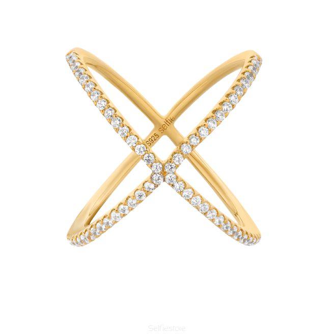 Pierścionek / X / złocenie / cyrkonie - Selfie Jewellery - Sklep Internetowy
