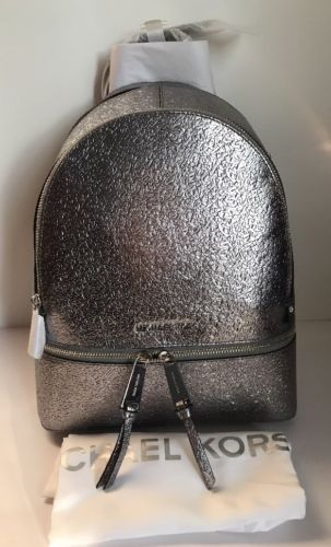 95e5453445c2 Michael Kors Rhea Zip Metallic Medium Leather Backpack Pewter Silver  328