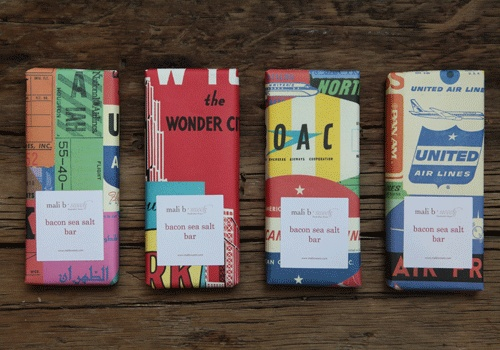 Bacon sea salt chocolate bars wrapped in travel-themed packaging...yeah, I'm freaking out too.