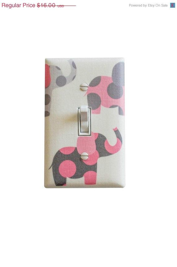 Pink and Gray Elephant Nursery Decor / Light Switch Plate Cover / Baby Girl Room Pink White Grey on Etsy, $12.80