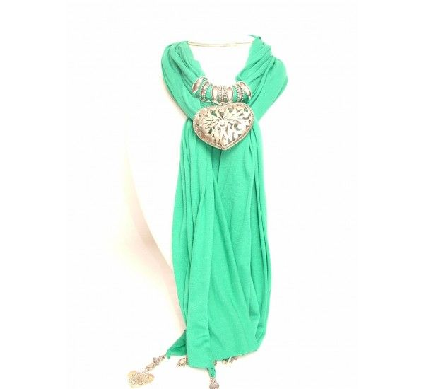Anastasia Benitez handmade green scarf with hollow heart accessory. Made in Spain. £69