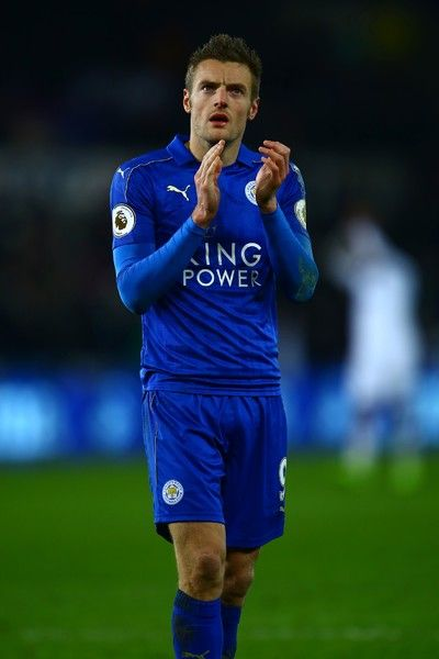 Leicester City's English striker Jamie Vardy claps after the English Premier League football match between Swansea City and Leicester City at The Liberty Stadium in Swansea, south Wales on February 12, 2017..Swansea won the game 2-0. / AFP / GEOFF CADDICK / RESTRICTED TO EDITORIAL USE. No use with unauthorized audio, video, data, fixture lists, club/league logos or 'live' services. Online in-match use limited to 75 images, no video emulation. No use in betting, games or single…