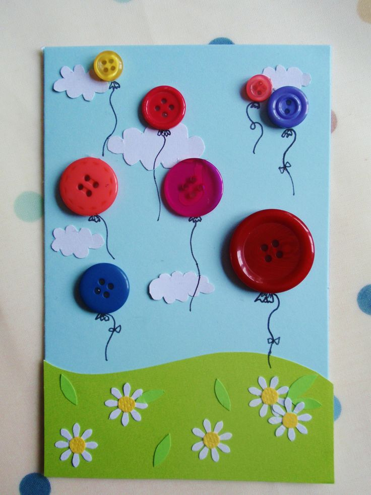 348 best birthday cards buttons images on pinterest handmade a handful of buttons birthday balloon card bookmarktalkfo Images