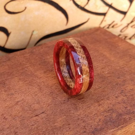 Whiskey Barrel Ring - Red - Acrylic Ring - Reclaimed Wood - Wooden Ring -  Wood Anniversary - Gift - Men's ring - Woman's ring