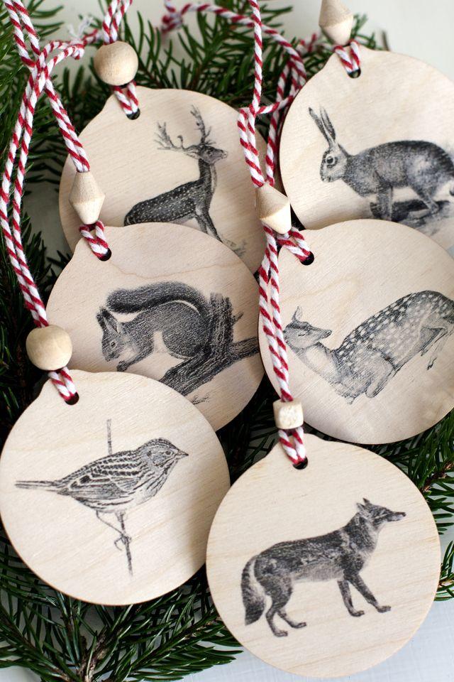 Free tutorial and printabel images on UKKONOOA: DIY eläinaiheiset puukoristeet / DIY Woodland Animal Ornaments