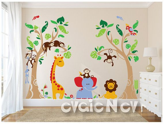 Tropical Wall Decals is highly popular wall stickers with Monkeys, Giraffe, Parrot and Elephant. It is handmade using Top-Quality Matte Vinyl and perfect to decorate and add your personal touches to any space or room.