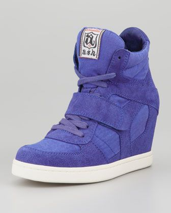 Cool Lace-Up Hidden Wedge Sneaker in Indigo by Ash at Neiman Marcus.