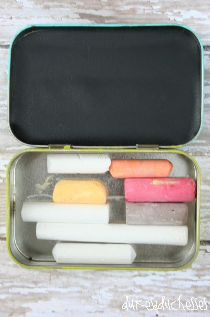 "upcycled, repurposed mint tin: chalkboard box.  Altoids tin, painted and decorated on the outside, chalk and ""chalkboard"" on the inside."