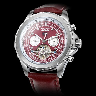 Men's Slide Rule Calendar Function PU Analog Auto-Mechanical Wrist Watch (Red) – USD $ 49.99