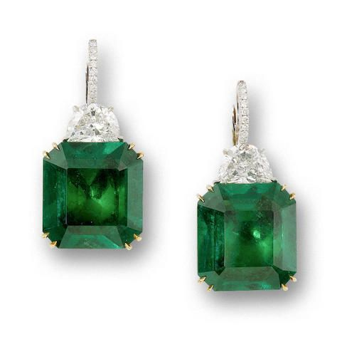 A pair of emerald and diamond earrings Sold for HK$ 1,560,000 (BGN 348,583) inc. premium