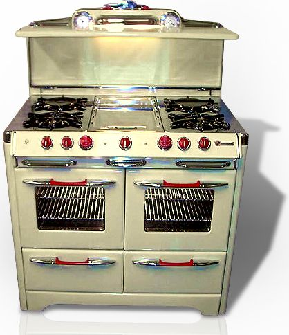 dream vintage stove - love the red knobs and handles