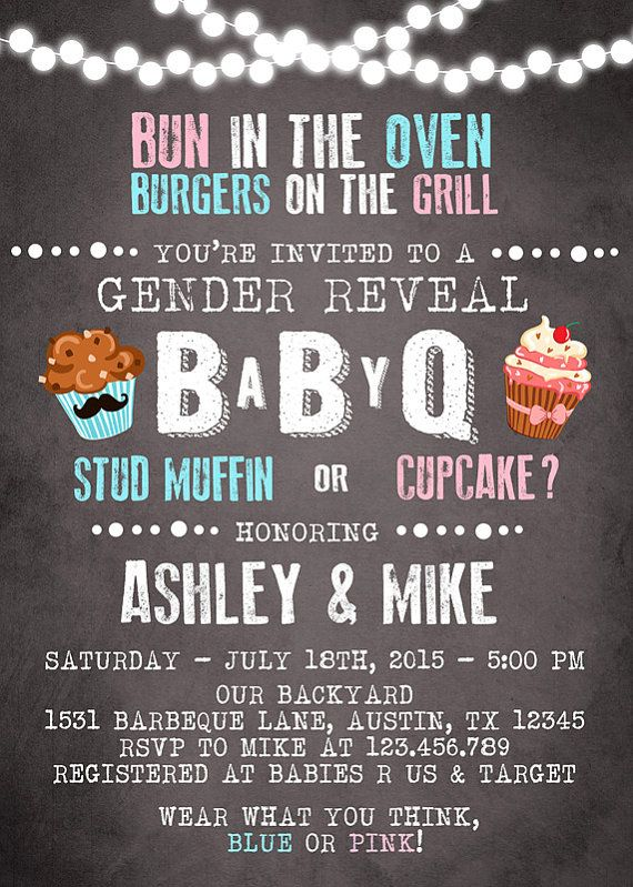 Baby Q invitation Coed Baby shower invite BBQ by Anietillustration