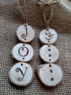 Christmas DIY: Stacked snowman and Stacked snowman and stacked JOY wood burned Christmas ornaments. Price is for each ornament. Choose SNOWMAN or JOY at checkout. These ornaments are made out of white birch wood slices. I go for a walk in the woods and find fallen limbs that I like the looks of and take them back to the wood shop. I use a chop saw to cut the discs of wood and a belt sander to smooth them out. I draw a picture on the wood disc with pencil and then wood burn the ornament. To…