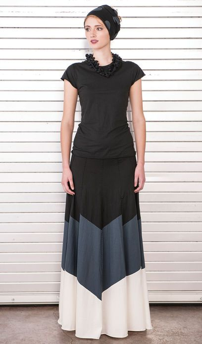 Color blocked tiered skirt cotton jersey  with mitered panels