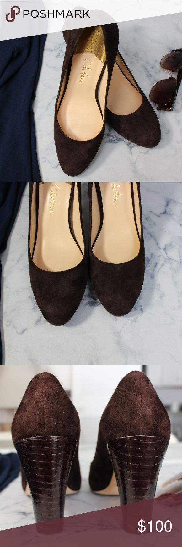 """Cole Haan Nike AIR Brown Suede Pumps Retail $200 Cole Haan Nike AIR Brown Suede Pumps Retail $200 Cole Haan Chocolate Brown Suede Pumps. Has the inbuilt Nike AIR technology to make these Pumps comfortable to walk in. Size: 7.5 Shoe Width: B (Medium)  Heel Height: 3 ½"""" Block heel snakeskin pattern leather in the same rich autumnal chocolate Material: Genuine Leather Outsole. Soft and supple Suede upper Color: Chocolate Brown Reviews state: True to fit.  Condition: Like new. Excellent…"""